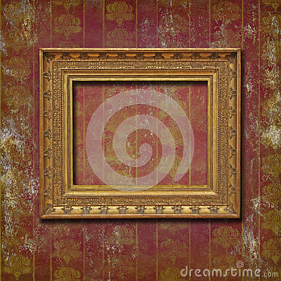 Free Golden Frame On Burgundy Grunge Wallpaper Royalty Free Stock Photography - 25802217