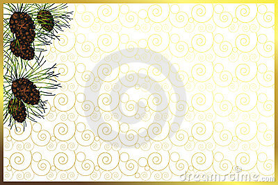 Golden frame with pine cones