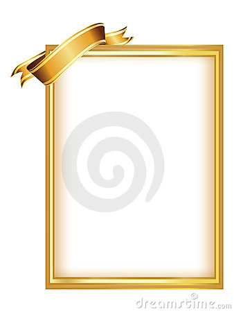 Golden frame with ribbon