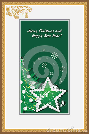 Golden frame with shining star and Christmas tree