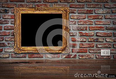 Golden frame on the wall.