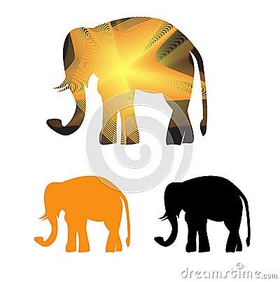 Golden framed elephant in light  rays