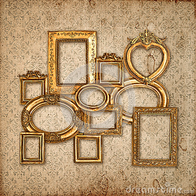 Free Golden Framework Over Vintage Pattern Wallpaper Stock Image - 39262381