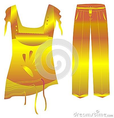 Golden Frock & Pants