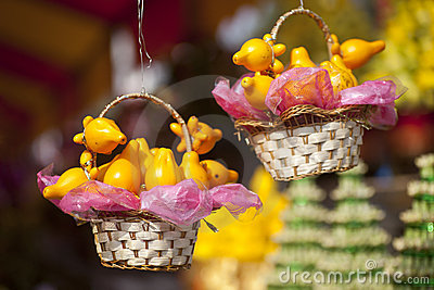 Golden fruits in baskets