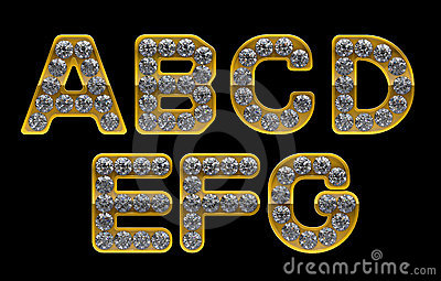 Golden A-G letters incrusted with diamonds