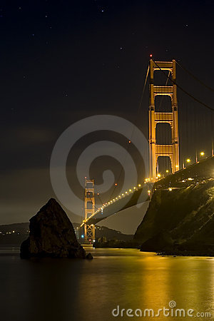 Free Golden Gate Bridge At Night Stock Image - 8097871