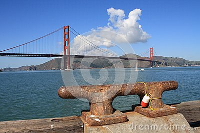 Golden Gate Bridge and boat mooring