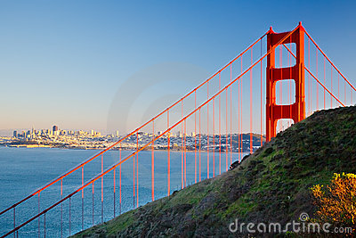 Golden Gate Bridge and city of Sun Francisco