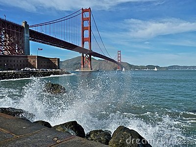 Golden Gate Bridge with Crashing Waves