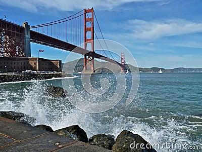 Golden Gate Bridge with Crashing Waves