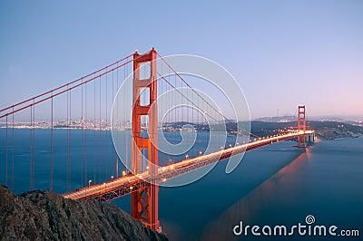 Golden Gate Bridge glowing in