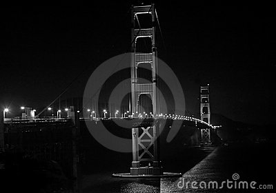 Golden Gate Bridge at night, B&W