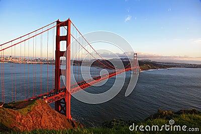 Golden Gate Bridge of San Francisco at evening