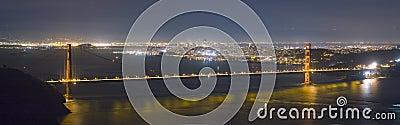 Golden Gate Bridge and San Francisco skyline panorama at night