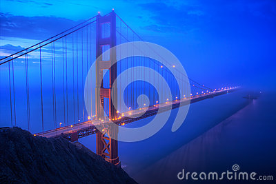 Golden Gate Bridge in San Fransisco at Blue Hour