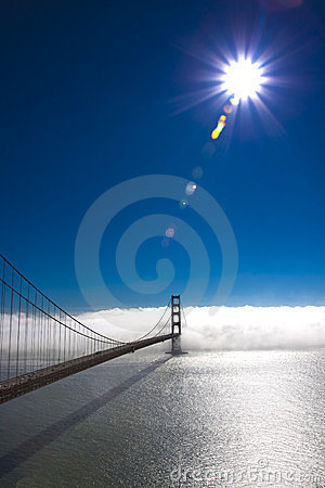 Golden Gate Bridge with sun and fog