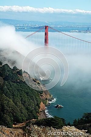Golden Gate Bridge under fog