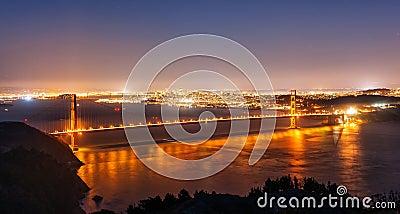 Golden gate bridge von San Francisco nachts
