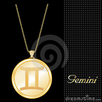 Golden Gemini Pendant Necklace