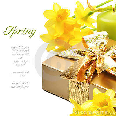 Golden gift box with springtime narcissus