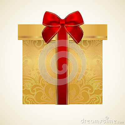 Free Golden Gift Box With Red Bow (ribbon). Present Royalty Free Stock Photos - 30836598