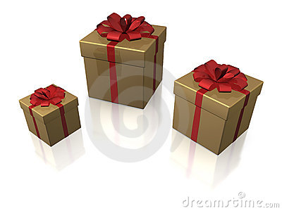 Golden gift boxes, isolated
