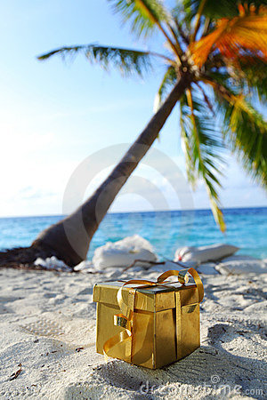 Free Golden Gift On Ocean Beach Royalty Free Stock Images - 21622729