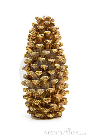 Golden glitter christmas pine cone