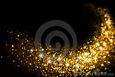 Golden Glitter Trail with Stars Background
