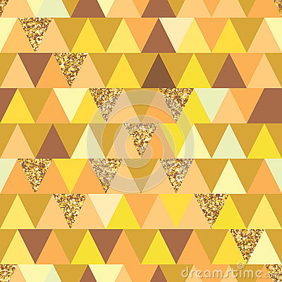 Free Golden Glitter Triangle Symmetry Seamless Pattern Royalty Free Stock Photos - 64157268