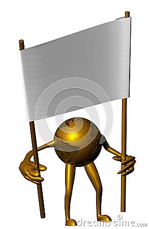 Golden globe holding white placard