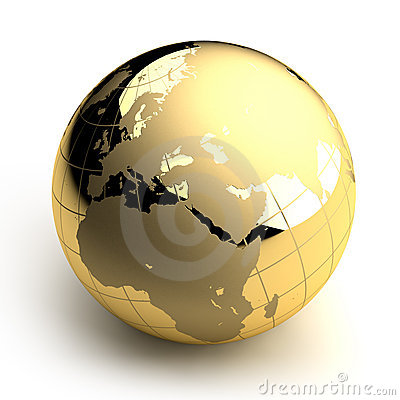 Free Golden Globe On White Background Royalty Free Stock Photo - 11950885