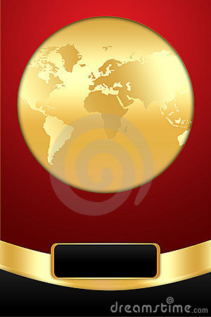 Golden Globe on Red Background