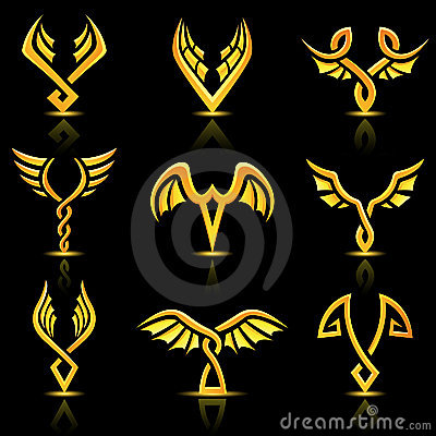Golden Glossy Abstract Wings Royalty Free Stock Photography - Image: 20259487