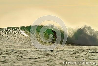 Golden glow surfer in amazing tube