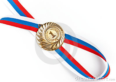 Golden or gold medal isolated closeup