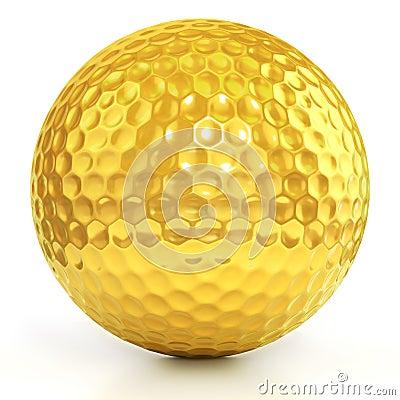 Golden Golf ball isolated over white