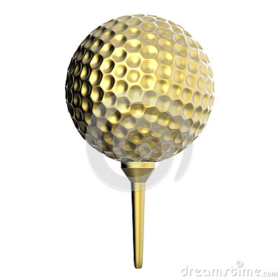 Free Golden Golf Ball On Tee Isolated On White Stock Images - 80935384