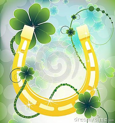 Golden good luck horseshoe