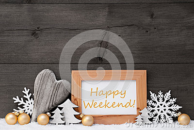 Golden Gray Christmas Decoration, Snow, Happy Weekende Stock Photo