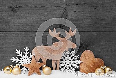 Golden Gray Christmas Decoration, Snow, Moose, Hear, Snowflake Stock Photo