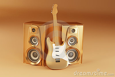 Golden guitar and louspeakers on yellow background