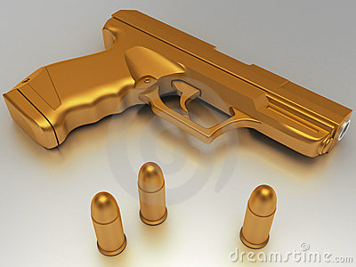 Golden gun with bullet
