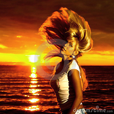 Free Golden Hair Motion Royalty Free Stock Photo - 6021075