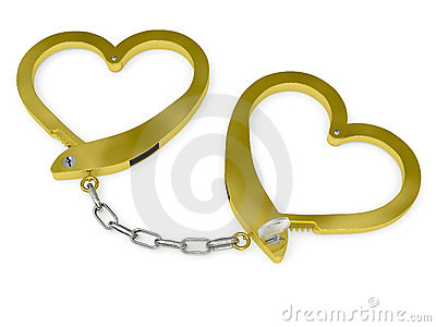 Golden handcuffs of love with key
