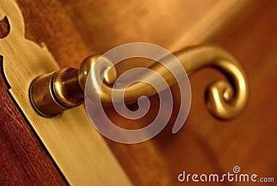 golden handle and door