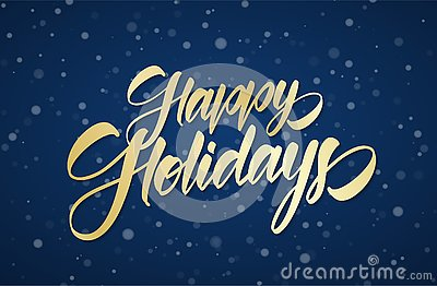 Golden handwritten calligraphic brush lettering of Happy Holidays on winter snowy sky background with snowflakes Vector Illustration