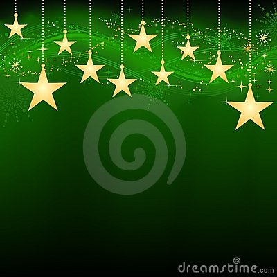 Golden hanging stars on dark green background