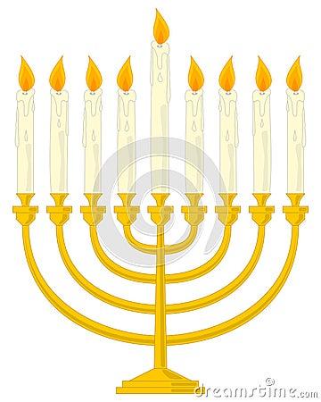 Golden Hanukkah Menorah